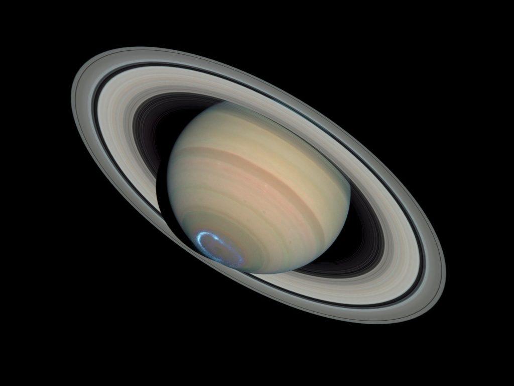 Der Planet Saturn mit Aurora